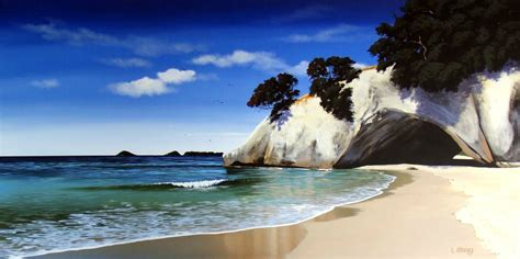 cathedral cove print  canvas  linelle stacey