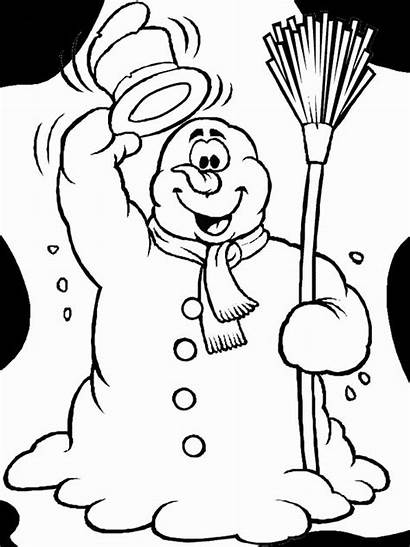 Coloring Snowman Funny Pages Winter Says Hello