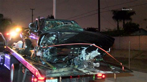 power outage  santa ana  car hits trees pole