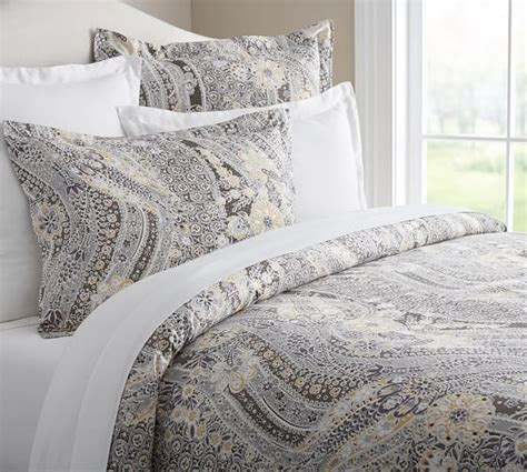 Pottery Barn Grey Bedding by Gracie Organic Duvet Cover Grey Multi