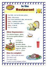 english worksheet ordering  meal   restaurant