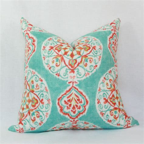 aqua throw pillows aqua orange decorative throw pillow cover 18 x