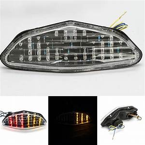 New Red Amber Motorcycle Rear Tail Light Integrated Brake