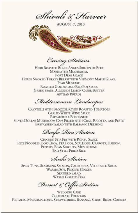paisley buddhist hindu wedding menu cardsindian menu card