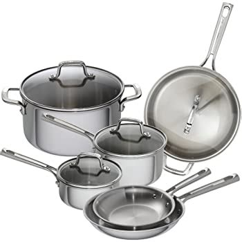 amazoncom emeril lagasse  piece stainless steel cookware set  copper core induction