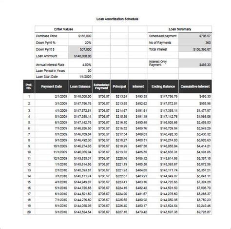 amortization schedule template   sample