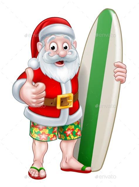 santa in shorts holding surfboard by krisdog graphicriver