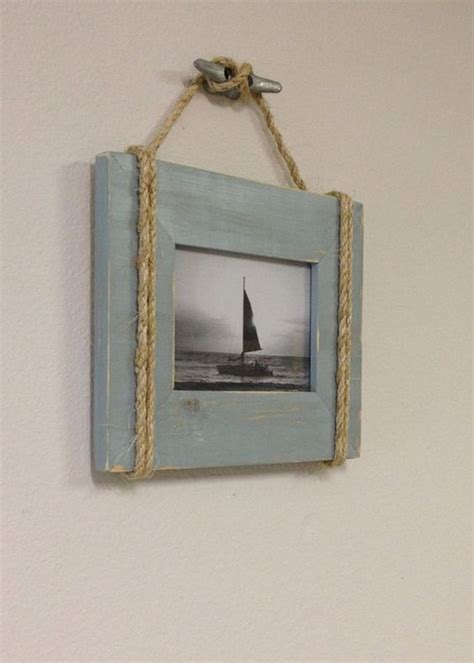 shabby chic nautical shabby chic nautical beach cottage 5x7 rope boat cleat picture frame in distressed watery