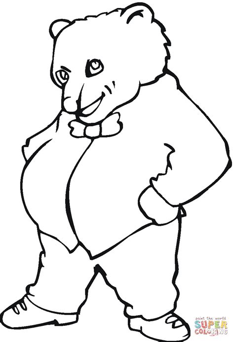 disegno  il signor orso bruno da colorare disegni da