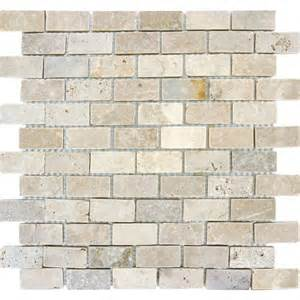home depot kitchen backsplash ms international chiaro brick 12 in x 12 in x 10 mm tumbled travertine mesh mounted mosaic