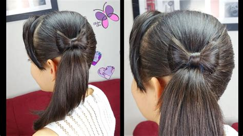 side ponytail  hair bow quick  easy hairstyles