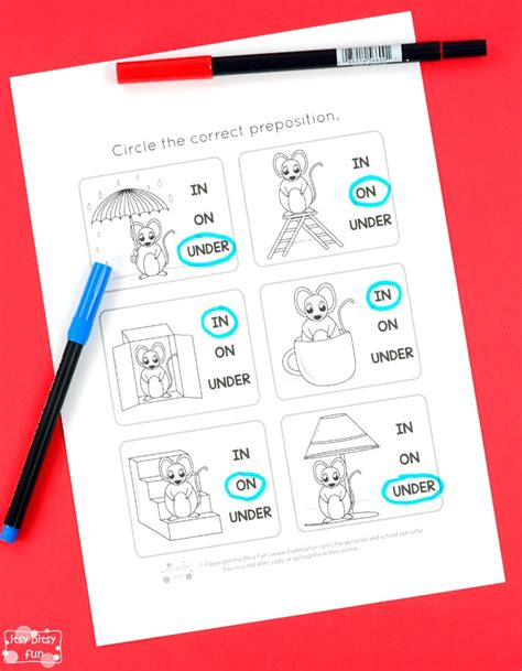 preschool preposition worksheet  kindergarten