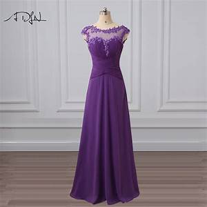 adln scoop cap sleeve purple bridesmaid dress with With long purple dresses for weddings