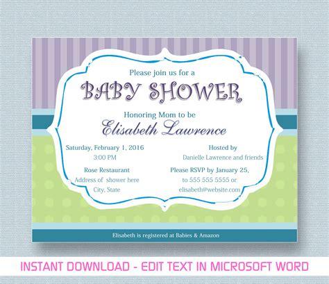 baby shower invitation  microsoft word