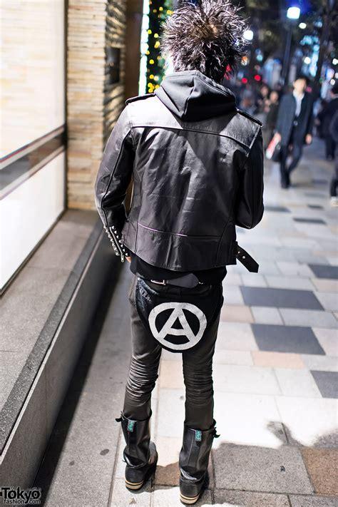 harajuku punk  studded leather jacket boots