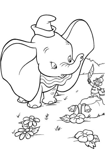 timothy shows dumbo  magic feather coloring page