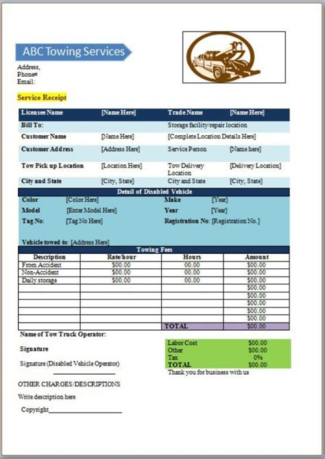 towing service invoice template  templates