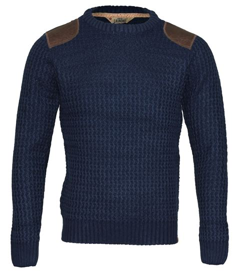 patch sweater laundry winter cable knit crew neck jumper sweater