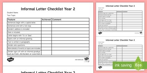 year  informal letter checklist english curriculum writing
