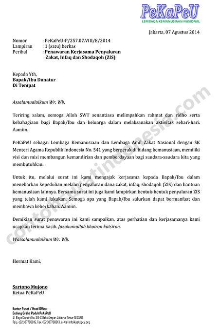 contoh surat penawaran kerjasama penyaluran zakat infaq