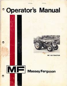 Massey Ferguson Mf135 Operators Manual  From 1974