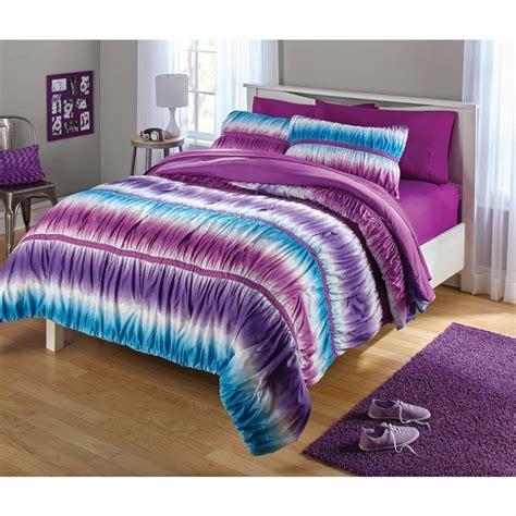 girls striped twin fullqueen ruched tie dye  pc purple