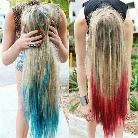 Dip Dyed Blonde Hair Color With Long Red Green Highlights