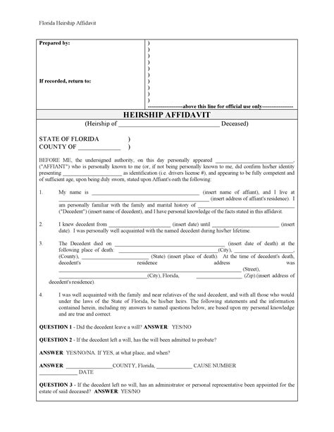 florida affidavit form free download free affidavit forms form download
