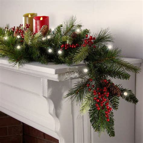 cordless led pre lit christmas garland at brookstone buy now