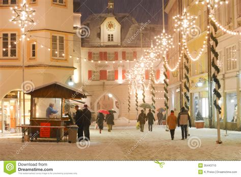 christmas illuminations in a medieval town square