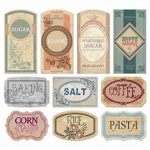 Free printable vintage labels for jars and canisters to for Kitchen colors with white cabinets with free happy birthday stickers