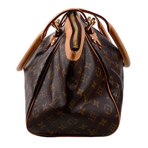 louis vuitton monogram handbag dark brown tivoli bag  leather trim  stdibs