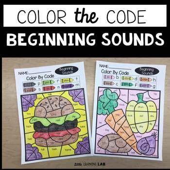 beginning sounds color  code    fun