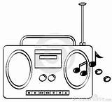 Radio Clipart Coloring Sketch Drawing Playing Drawings Sketchite Radios sketch template