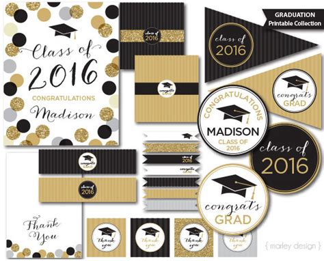 graduation decoration ideas 2016 graduation decorations black gold glitter class of