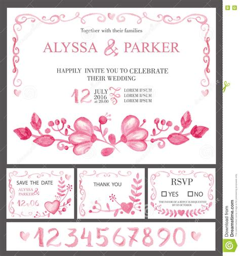 Wedding Invitation Cards Set Watercolor Pink Flowers