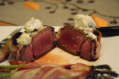 Served with creamed spinach and mushrooms (also an excellent cl recipe, 2012), and baked. Bacon wrapped Filet Mignon with Bleu Cheese Butter ...