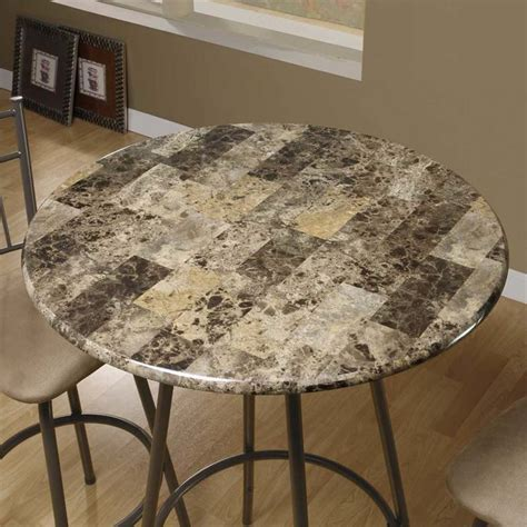 Round Faux Marble Top Pub Table in Cappuccino   I 2310