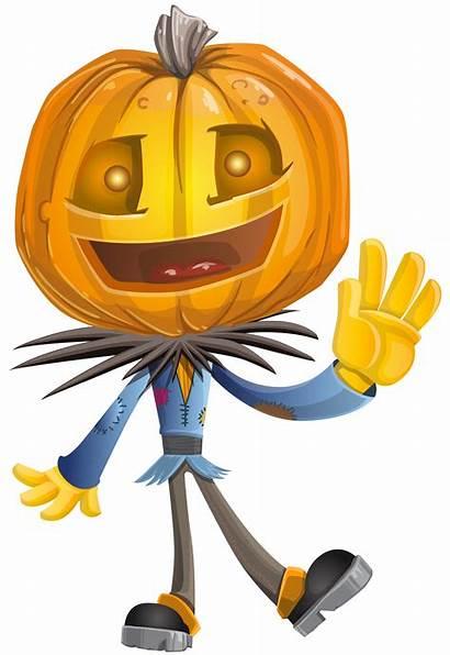 Pumpkin Halloween Head Clip Clipart Scarecrow Happy