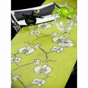 Chemin De Table Vert : chemin de table orchid e intiss vert anis 5 m ~ Teatrodelosmanantiales.com Idées de Décoration