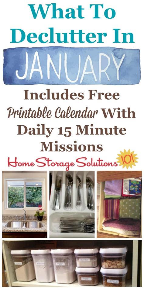 january declutter calendar  minute daily missions  month