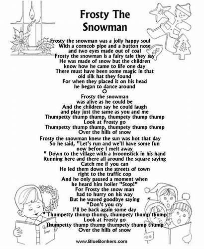 Lyrics Christmas Song Songs Carol Frosty Printable