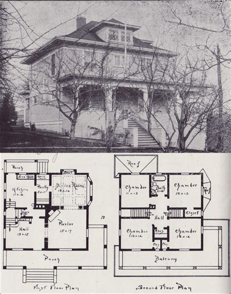 american foursquare floor plans 1900 1908 western home builder design no 13 v w voorhees