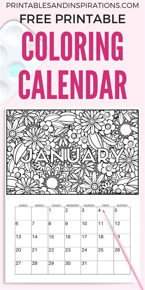 printable  coloring calendar pages
