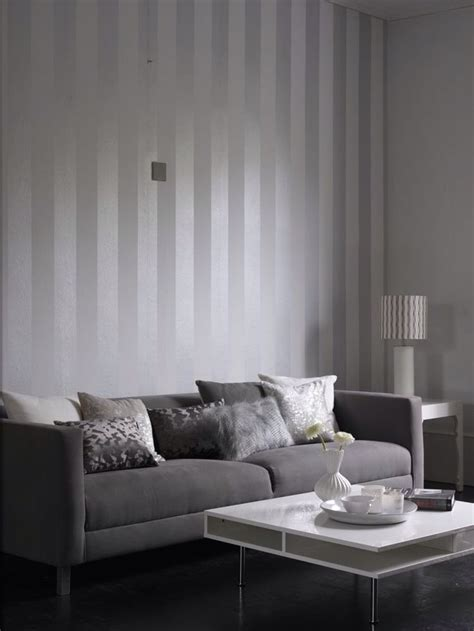 metallic grey  white stripe wallpaper design