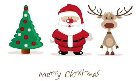 Weihnachtsmann, Rentier Und Tannenbaum