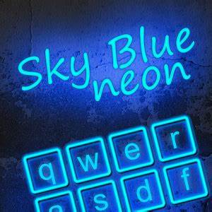 App Sky Blue Neon Keyboard Theme apk for kindle fire
