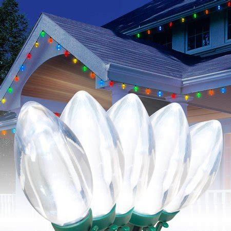 brightest led christmas lights time led c9 ultra bright light set green wire cool white bulbs 25 count walmart