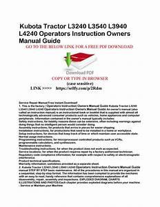Kubota Tractor L3240 L3540 L3940 L4240 Operators