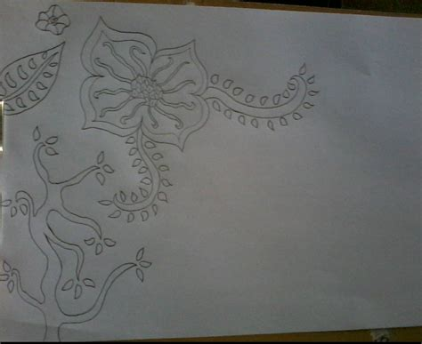 gambar contoh gambar sketsa batik terindah simpel mudah